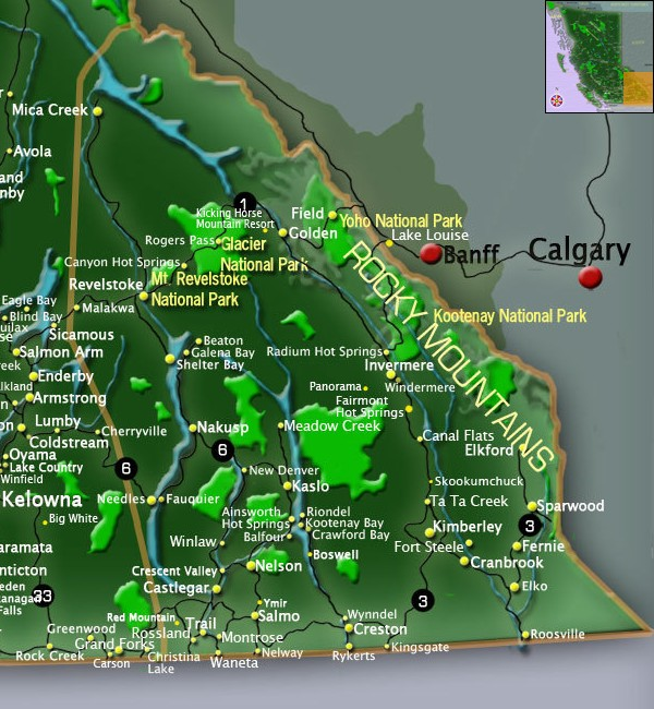 Map Kootenay Rockies