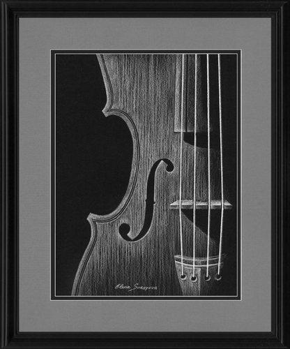 White Violin Drawing Violin Black And White Drawing