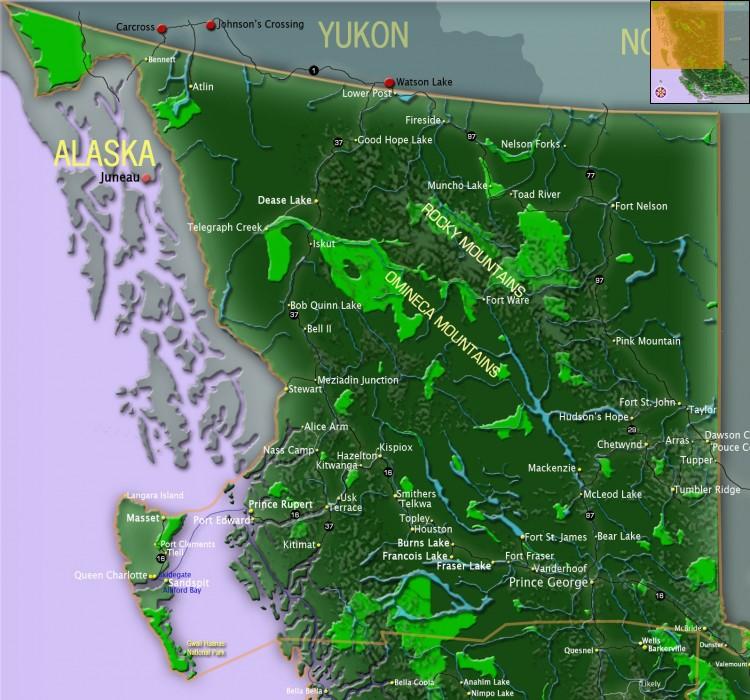 Map Of Northern Bc Map of Northern BC | BC maps | Go BC Travel