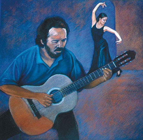 Flamenco Dancer And The Guitarist